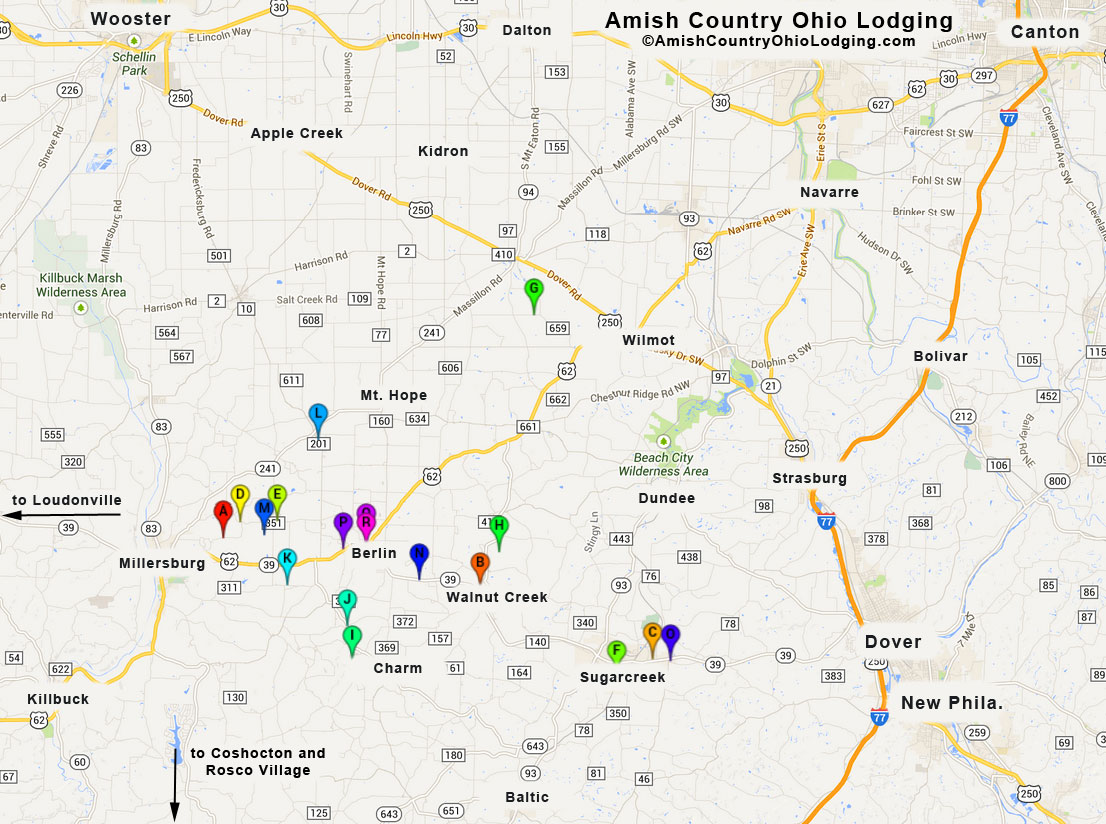 Lodging Map | Ohio Amish Country Lodging