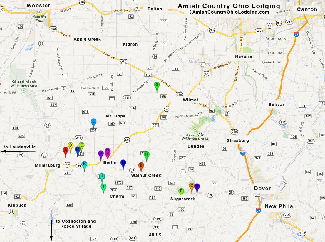 Ohio Amish Country Map Lodging Map | Ohio Amish Country Lodging Ohio Amish Country Map